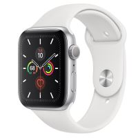 APPLE WATCH SERIES 5 GPS 44MM SILVER /WHITE SPORT BAND